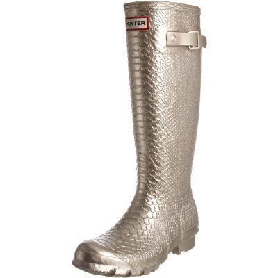 Hunter Women's Carnaby Boa Tall Metallic Wellington Boot- Gold