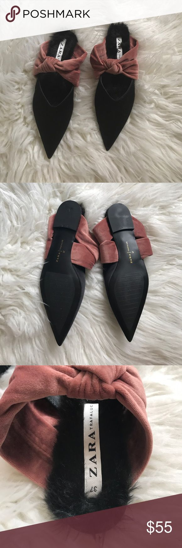 ZARA Black Satin Pink Velvet Bow Fur Mule Flat 37 Slips on. Pointed toe. Satin upper with velvet bow. Faux fur lining. Man made sole. Size 37, fits like a 6.5-7. New! Never worn! Bought w/o tags Zara Shoes Flats & Loafers