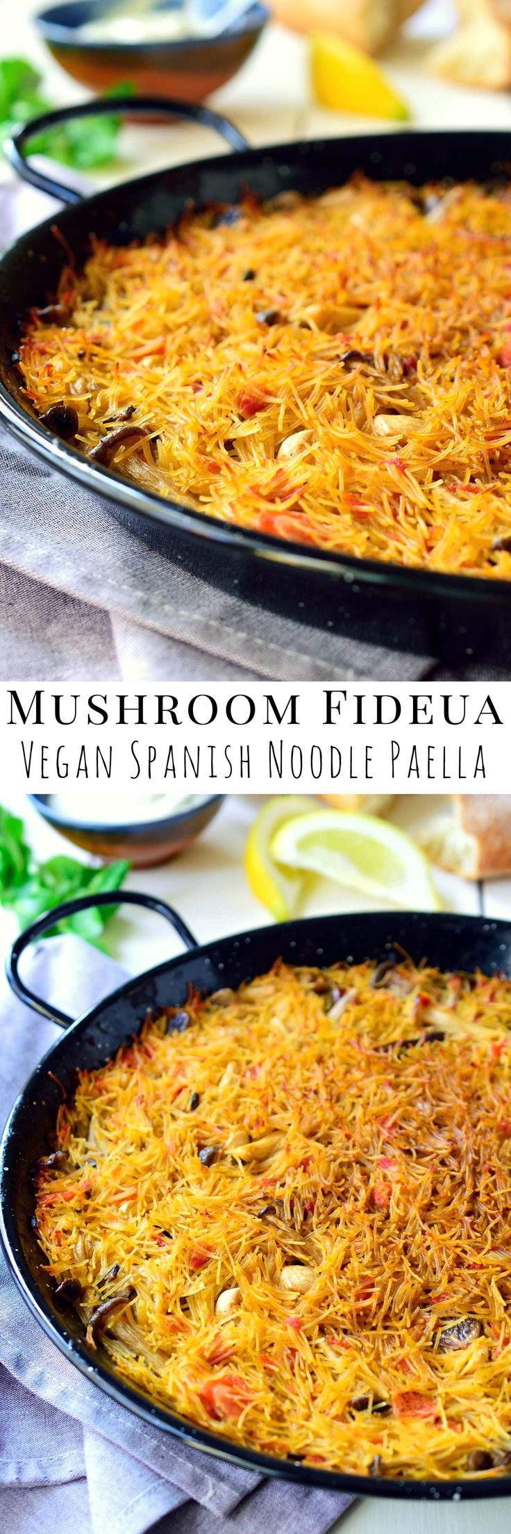 If you like vegan paella then you need to try this mushroom fideuà. Short angel-hair-like noodles replace the rice in this recipe to make a sort of Spanish noodle paella. Typically made with seafood, my vegetarian fideuà uses a variety of mushrooms for a totally plant-based version of this traditional Spanish dish.