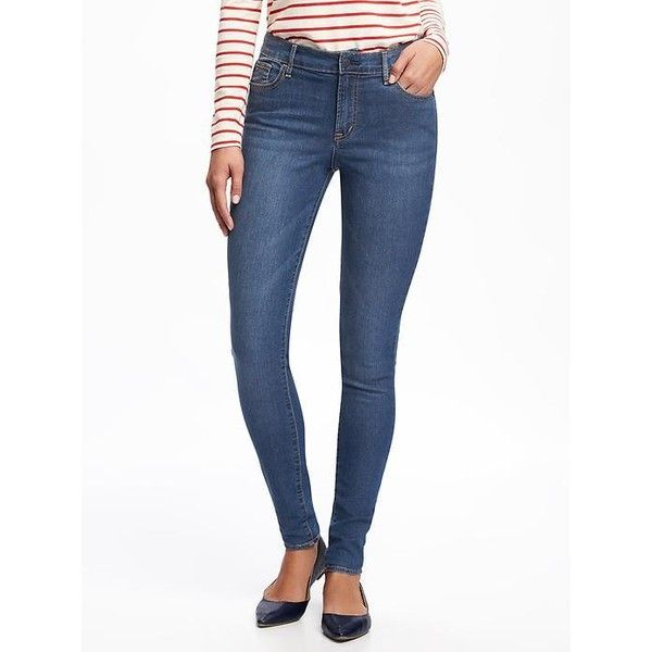Old Navy Womens Mid Rise Super Skinny Jeans ($15) ❤ liked on Polyvore featuring jeans, blue, white skinny jeans, petite skinny jeans, super stretch skinny jeans, long skinny jeans and short skinny jeans