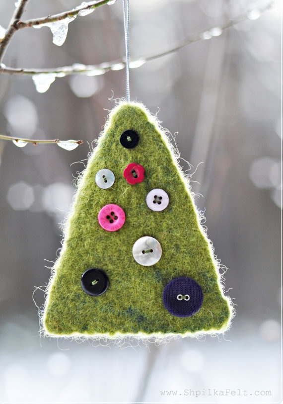 Felt Christmas decoration. Green Christmas tree. Eco wool / Colorful buttons / Green Christmas ornament. $12.00