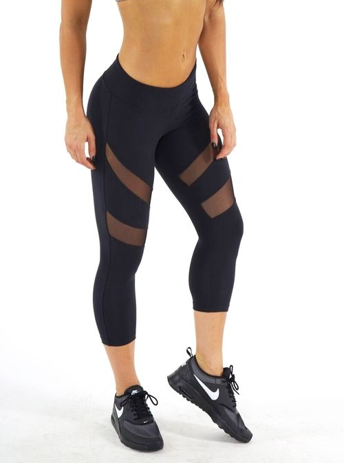 Black mesh workout leggings Black cropped workout leggings with mesh! NOT  LULU Made by jfitnesswear only worn twice!