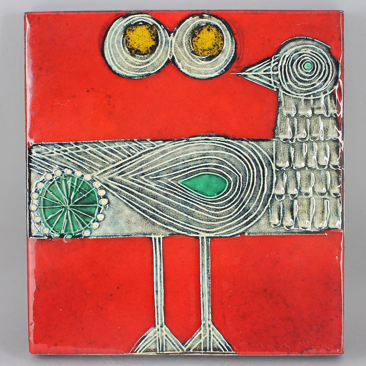 Lisa Larson (1966) Charming Sandpiper Wall Plaque (Red)