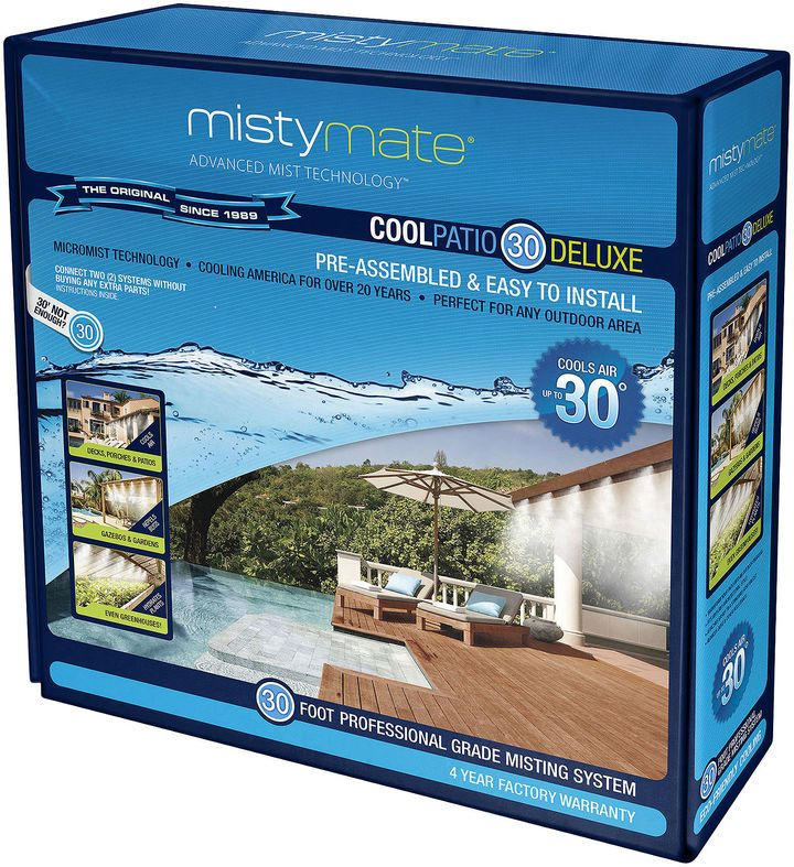 Upgrade your backyard with the power of mist thanks to this patio mister. The professional-grade Cool Patio 20 system provides a cool environment from the heat. includes 11 exclusive micro-mist nozzles that deliver a continuous stream of ultra-fine mist cools the ambient temperature up to 30F once the mist touches the skin, it flash-evaporates on contact ensuring a mild climate