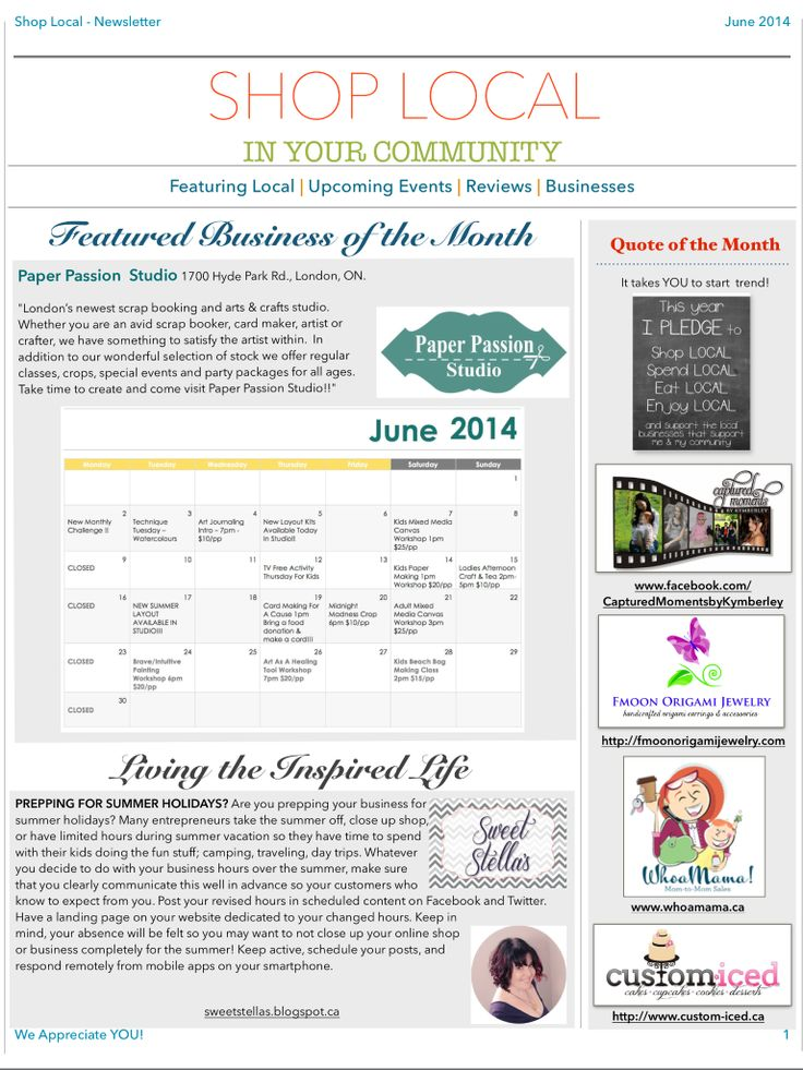 Shop Local's June Newsletter - page 1 - Featuring LOCAL Businesses, Events, Reviews AND more in YOUR Community! Subscribe at http://eepurl.com/VZJDj #LdnOnt #shoplocal #supportsmallbiz #localmatters