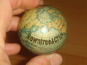 A-Very-Rare-Antique-ROWNTREE-CO-LTD-Miniature-Atlas-GLOBE-Tin-c1900-10