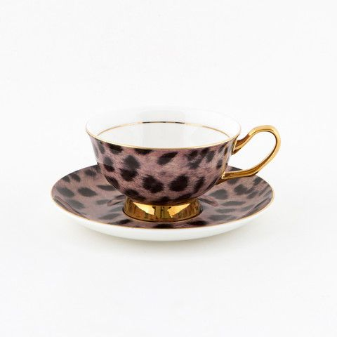 #Cougar #Print #250mL #Teacup and #Saucer #Set | The #elegant, #stylish teacup. #Mix'n'match with our other #colours! Get #inspired at lyndalt.com