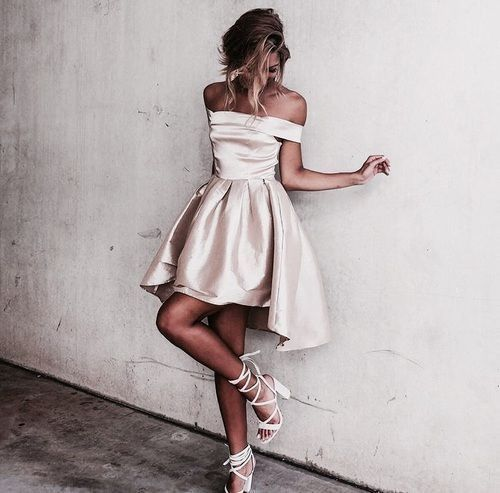 this satin off the shoulder dress is amazing