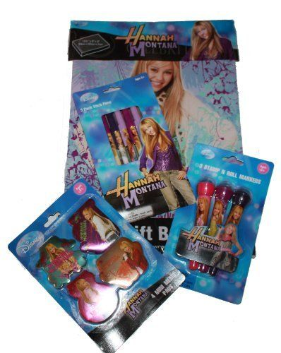 """4-pack Hannah Montana Gift Set, Hannah Montana 3 Stamp N Roll Markers (Light Purple, Dark Purple, and Pink Marker and Stamps), 5-pack Hannah Montana Stick Pens, 4-pack Hannah Montana Memo Pads, Hannah Montana Gift Box (No Wrapping Needed: 13.5"""" X 9"""" X 3"""") by Melabra. $11.95. Hannah Montana 4-Pack Mini Memo Pads. Hannah Montana 3 Stamp N Roll Markers. No wrapping needed gift box. Hannah Montana 5-Stick Pens. This is the Ultimate Hannah Montana Gift Set. Perfect wrap free gif..."""