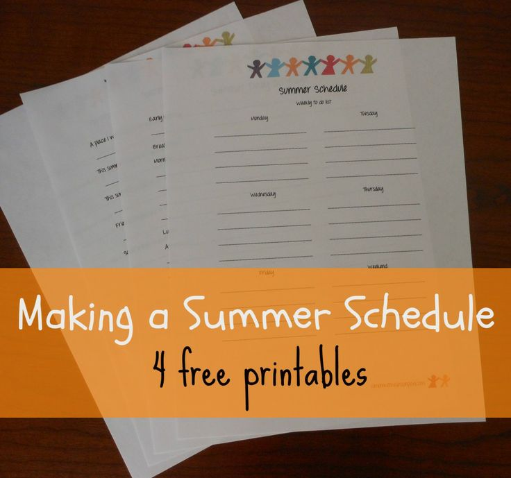 Summer Schedule and Summer Goal Sheet (+ free printables)