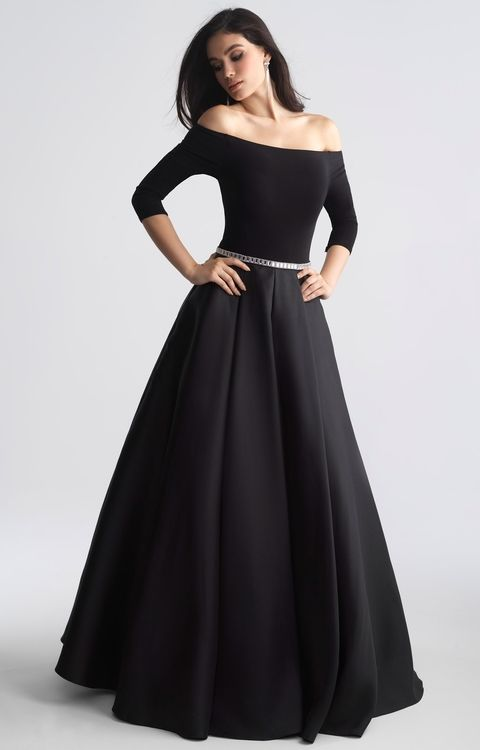 Madison James - 18 609 Off Shoulder Full A-Line Mikado Long Prom Dress (jersey and mikado, quarter length sleeves, embellished waistline, pleated skirt, back zip, natural waist)