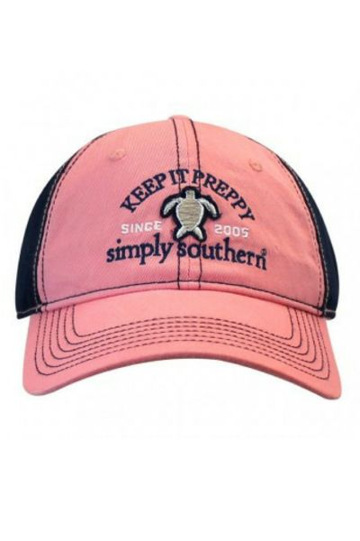 Stay preppy in this lovely Simply Southern ball cap. 65% Cotton and 35% Polyester. One size fits most.