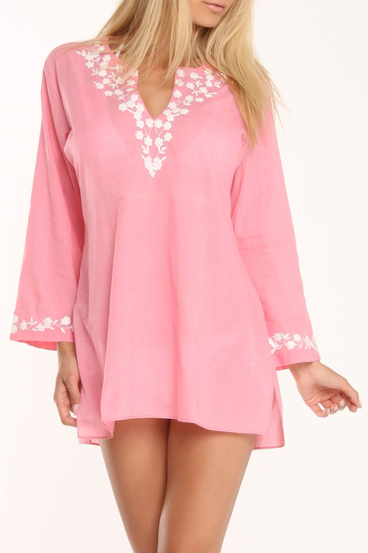 Bathing Suit Tunic Cover-Up In Coral Pink.