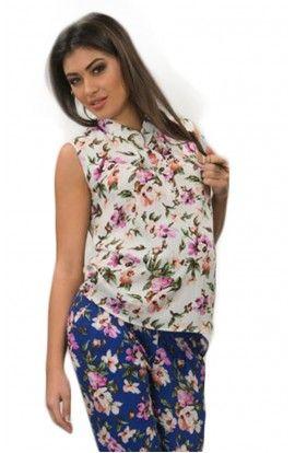 Bluza albă cu flori
