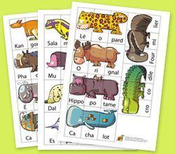 Melimelo des animaux, à imprimer en noir et blanc ou en couleurs pour plusieurs types de jeux selon les âges. http://www.hugolescargot.com
