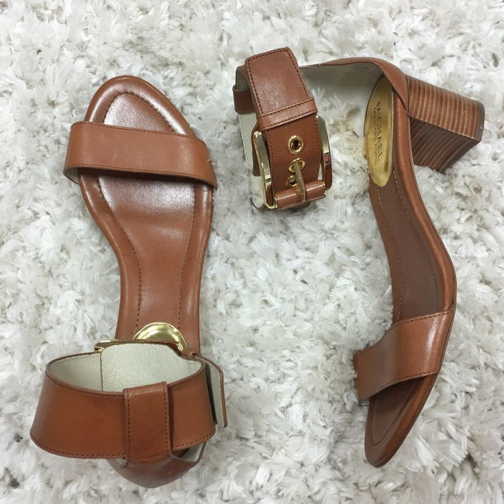 Michael Kors Tan Sandals with Gold buckle size 9.5 $160