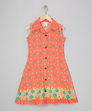 Take a look at this Orange Floral Mod Sundress - Infant, Toddler & Girls by Vintage Circus on #zulily today!