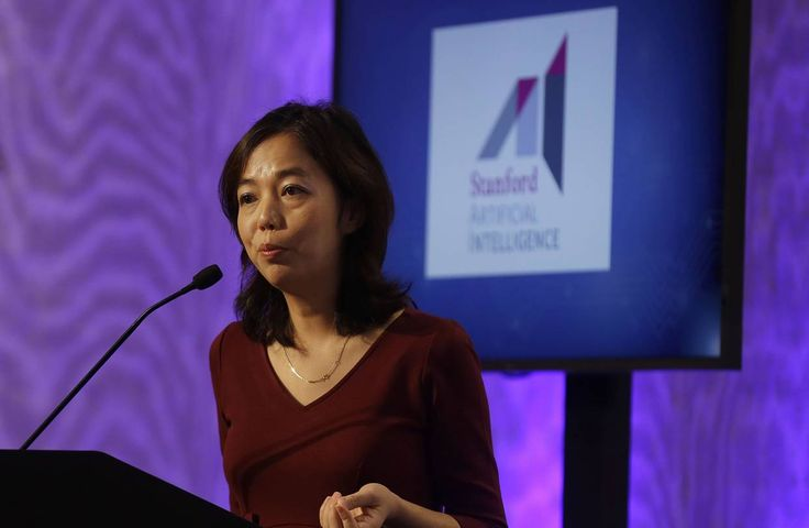 Stanford University computer scientist Fei-Fei Li, speaking at a conference announcing a school partnership with...