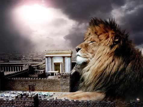 Lion of the tribe of Judah by the temple