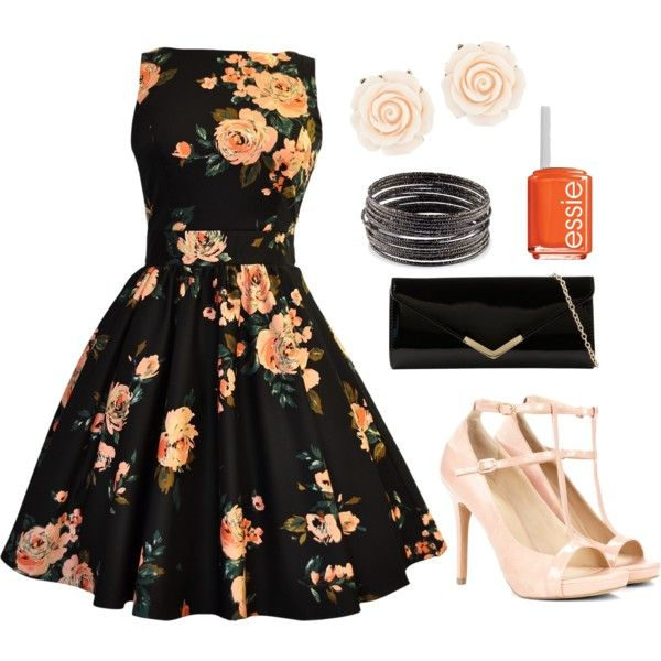 """""""Midnight Floral"""" by shaneliza on Polyvore. LOVE IT! With a 50's swoop back up do that would be so classy"""