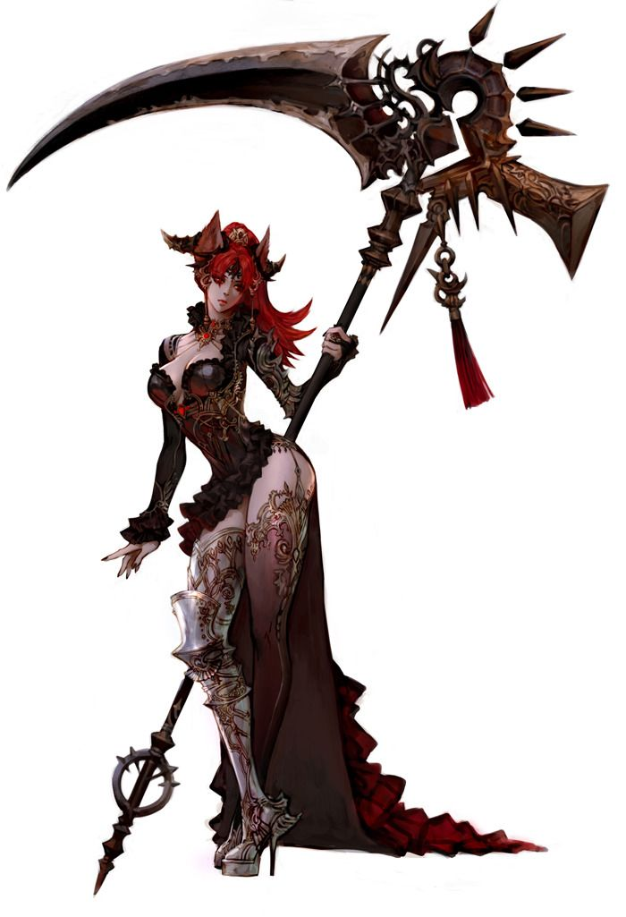 The art is so detailed! It looks like she is holding a scythe of death; she might be the grim-reaper, maybe.