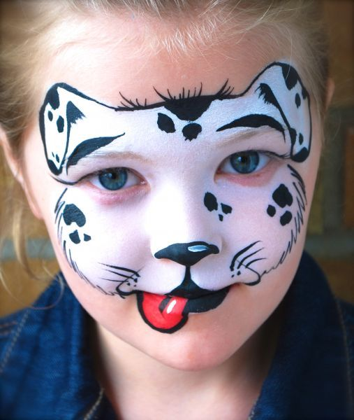 Hondje masker schmink - face paint dog www.hierishetfeest.com