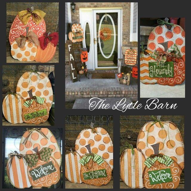 Handpainted pumpkin door hangers.