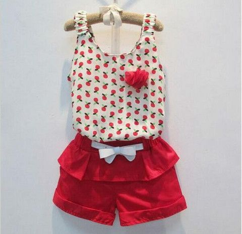 2 Piece Cherry Top and Red Shorts. $20 + Postage. Available in 1-6y. #red #girlsclothes