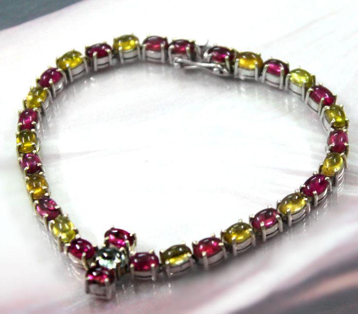 72.5 ct Natural Tourmaline tennis bracelet sterling silver Natural lustrous rare
