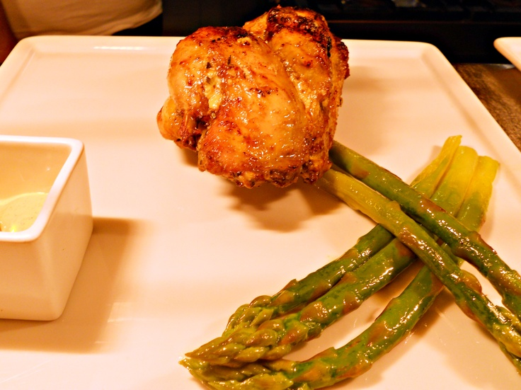 Grilled Coquelet chicken, marinated in white wine, rosemary and chilli, with a hint of Dijon mustard