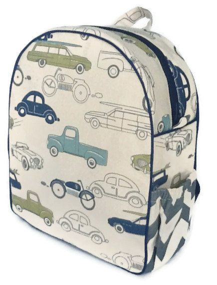 Toddler Backpack Preschool Boys Quilted Cars Chevron