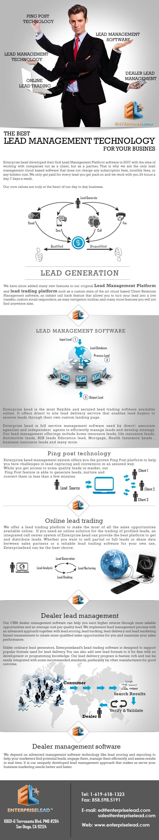 Enterprise lead is providing great services in the form of lead management system. This system is based on highly advanced technology. Its working method and results both are far better than old and typical marketing mediums. Unlike old marketing mediums, there is no need to wait till very long for getting good sales if you are a user of lead management system.