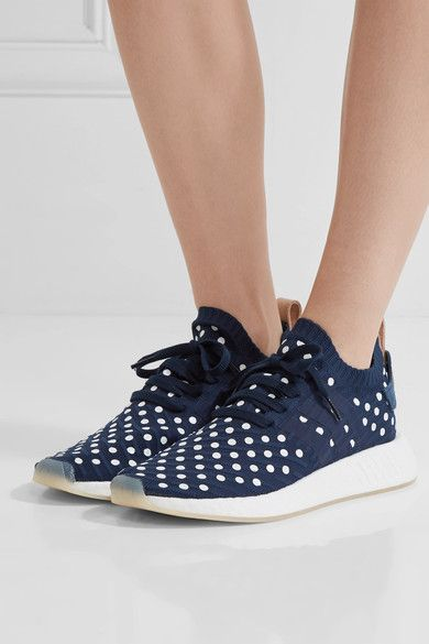 adidas Originals - Nmd_r2 Leather-trimmed Polka-dot Primeknit Sneakers - Storm blue