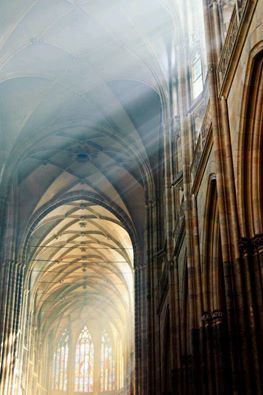 """. Through costly-coloured glass and paper-mended window, through cathedral dome and rotten crevice, it shed its equal ray.""""--Charles Dickens, Oliver Twist. (Photo St. Vitus Cathedral in Prague,Czech Republic. The cathedral is an excellent example of Gothic architecture and is the biggest and most important church in the country. Located within Prague Castle and containing the tombs of many Bohemian kings and Holy Roman Emperors.)"""