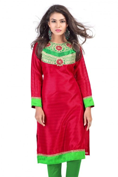 Charming Red and Green Bhagalpuri Silk Embroidered Kurti