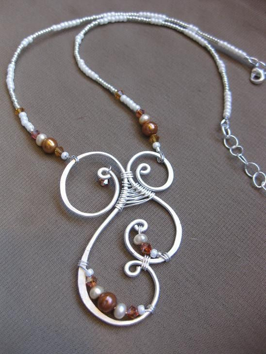 Copper, Cream and Silver, Pearl & Crystal Wire Work Necklace - SHIPPING INCLUDED. $56.00, via Etsy.