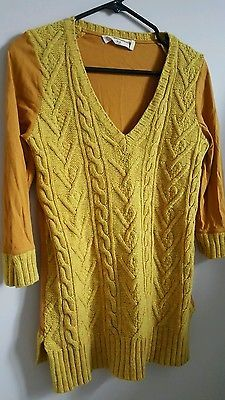 Anthropologie Pilcro and the Letterpress 3/4 sleeve top yellow sweater medium M