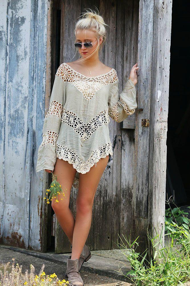 Farewell Summer Floral Crochet Light Sage Knit Tunic Top
