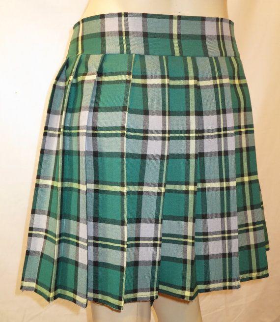 Cape Breton Gray Green Yellow Tartan Plaid Pleated Skirt~Small to Plus size SKirt~Highland Games~Custom make Christmas gift skirt@sohoskirts