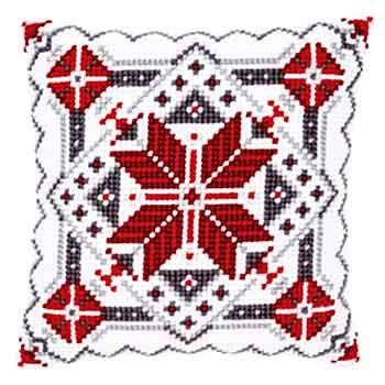Snow Crystal Christmas Cross Stitch Cushion Kit By Vervaco (two)