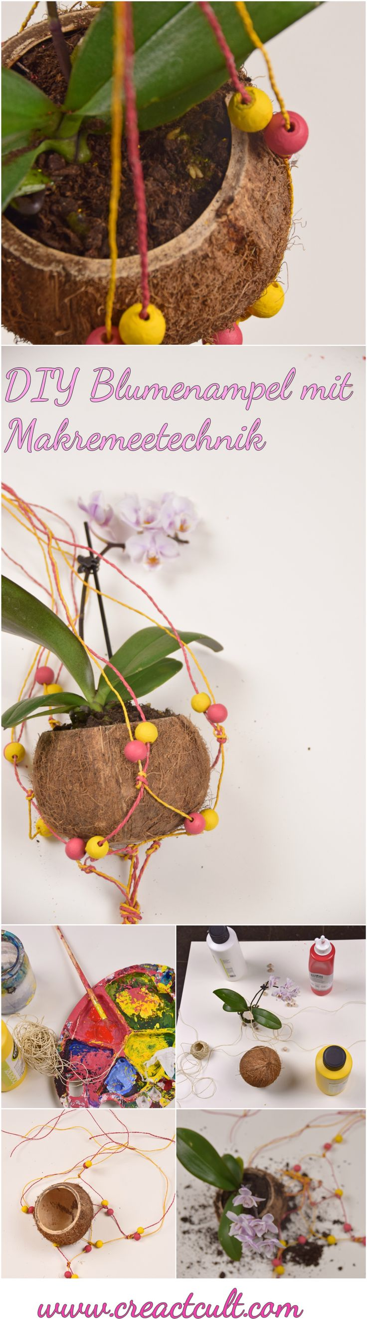 DIY Blumenampel aus Kokosnuss mit Makremeetechnik