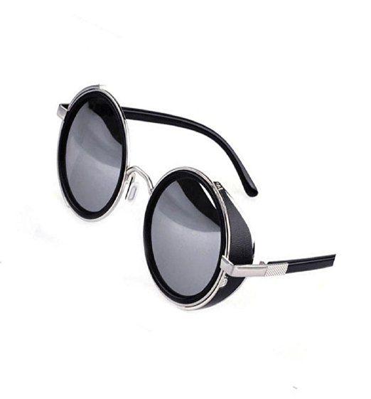 Yistu Unisex klassische Punk Runde Blinder Retro Brillen Sonnenbrillen (Schwarz + Silber)