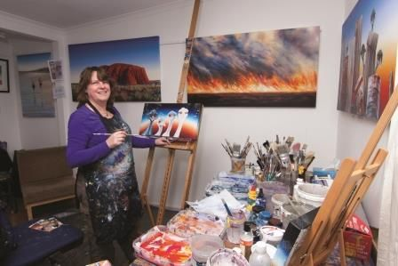Linda Macaulay - Having worked as Artist in Residence at Uluru for many years, Linda's large acrylic canvasses reflect both her love of the Australian  Landscape and its quirky characters.