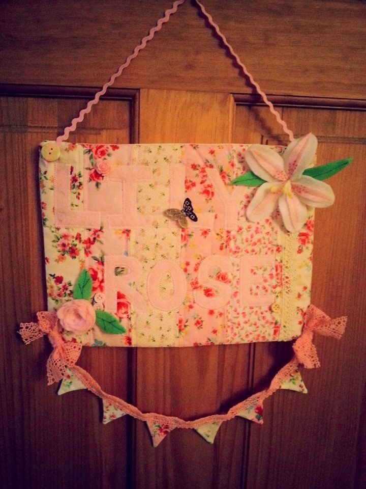 Door sign, completely hand made with both flowers hand cut from felt and made by me ... handmade mini bunting and hand cut letters