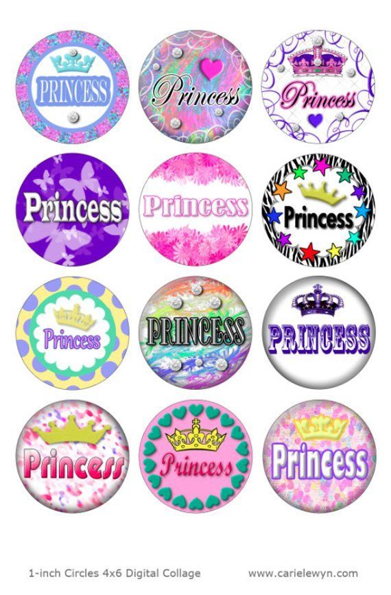 photo about Printable Bottlecap Images identified as Princess Printable 1-Inch Circles / Bottlecap Pictures