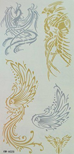 Wonbeauty New tattoo Phoenix Golden and Silver gold glitter tattoos. Safe and non-toxic design ideal for body art. Professional grade made to last 3 to 5 days and easily transferred by water. Perfect for vacations, girls night, pool parties, bachelorette parties, or any other event you want to look glamorous.