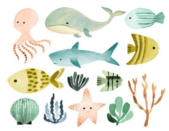 watercolor ocean clipart sea clipart ocean animals by rosabebe