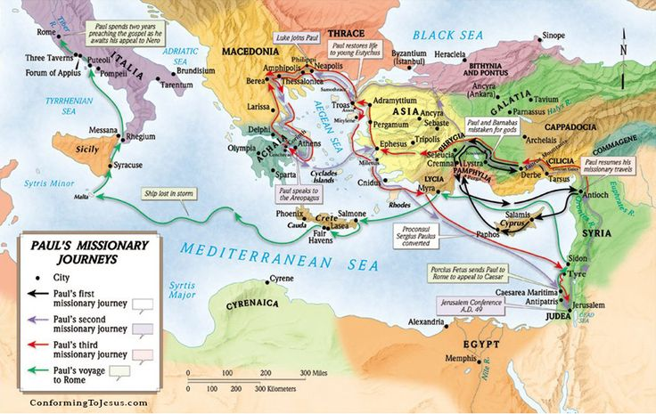 This is a full color, large, poster-sized map of all 4 of the Apostle Paul's missionary journeys. Description from importitall.co.za. I searched for this on bing.com/images