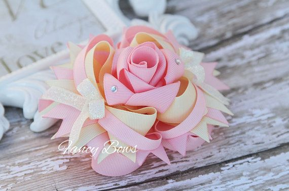 Cream and Pink Fancy Rose Stacked boutique bow. Easter. Special occasion. BowChicks