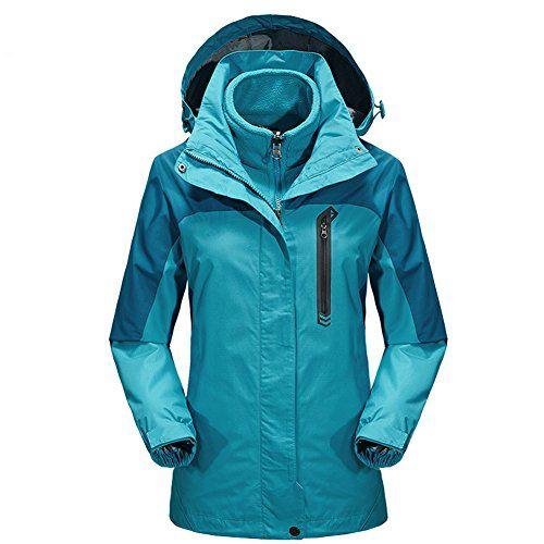 #iPretty Outdoorjacke Damen 3 in 1 Regenjacke mit Kapuze Skijacke Doppeljacke Fleecejacke Wasserdicht atmungsaktiv Wanderjacke-Blau-2XL, 00714812695674